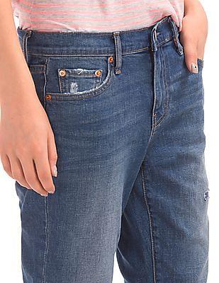 GAP Washwell Mid Rise Destructed Best Girlfriend Jeans