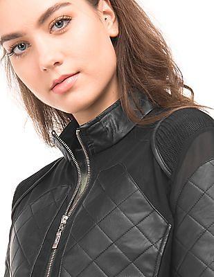 EdHardy Women Mesh Panelled Biker Jacket
