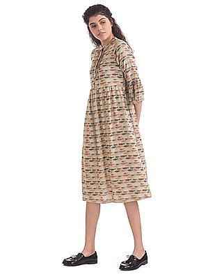 Bronz Printed Fit And Flare Dress