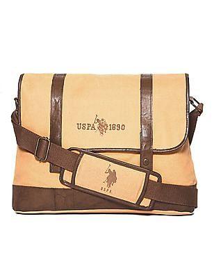 U.S. Polo Assn. Brown Colour Block Messenger Bag