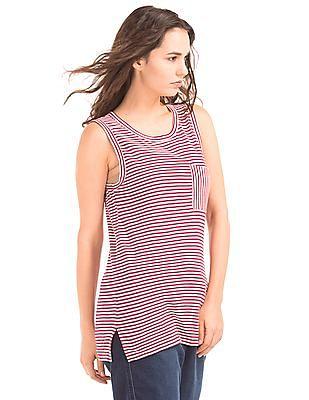 GAP Women Red Slub Jersey Stripe Muscle Tank