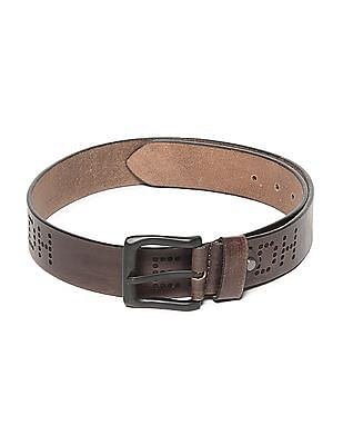 Ed Hardy Brown Brand Debossed Leather Belt