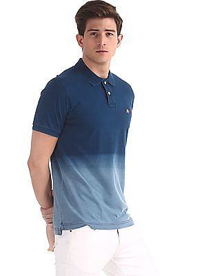 Aeropostale Blue Ombre Dye Cotton Polo Shirt