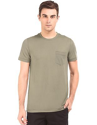 Arrow Sports Round Neck Slubbed T-Shirt