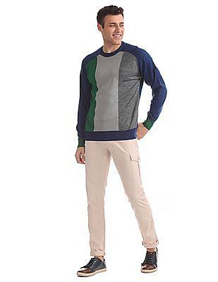 Izod Crew Neck Colour Block Sweater