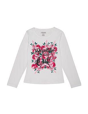 Cherokee Girls Glitter Printed Long Sleeve T-Shirt