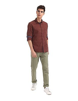Ruggers Green Urban Slim Fit Flat Front Trousers