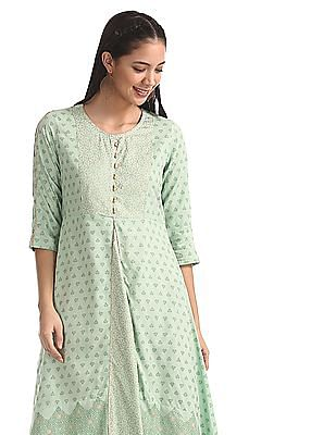 Anahi Green High Low Hem Printed Kurta