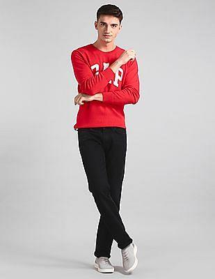 GAP Red Crew Neck Intarsia Graphic Sweater