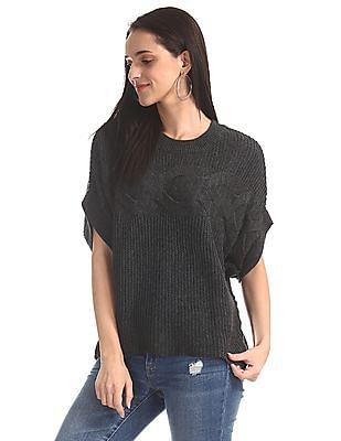 Elle Studio Grey Dolman Sleeve Oversized Sweater