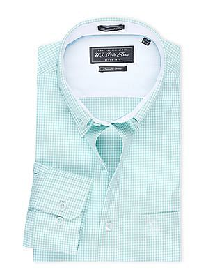 USPA Tailored Button Down Mini Gingham Shirt