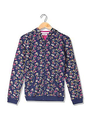 U.S. Polo Assn. Kids Girls Hooded Floral Printed Sweatshirt