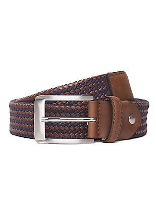U.S. Polo Assn. Braided Leather Canvas Belt