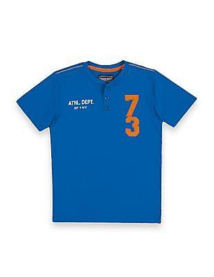 Cherokee Boys Appliqued Front Henley T-Shirt