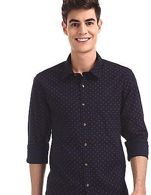 Ruggers Blue Spread Collar Printed Shirt