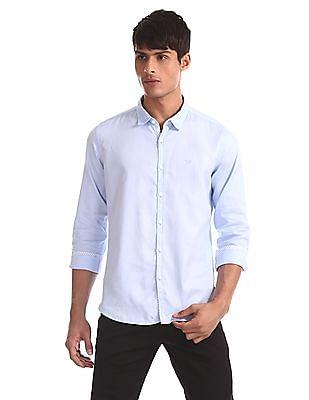 Flying Machine Blue Regular Fit Patterned Weave Shirt