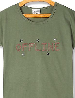 Cherokee Girls Round Neck Appliqued T-Shirt