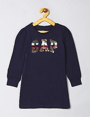 GAP Girls Long Sleeve Sequinned T-Shirt Dress