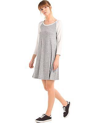 GAP Women Grey Softspun Knit Raglan T-Shirt Dress