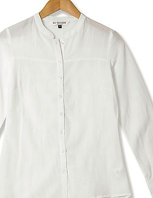 U.S. Polo Assn. Women Mandarin Neck Solid Shirt