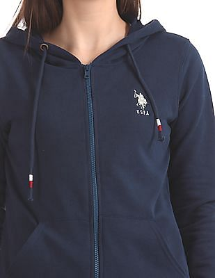 U.S. Polo Assn. Women Zip Up Hooded Sweatshirt