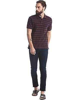 True Blue Striped Slim Fit Polo Shirt