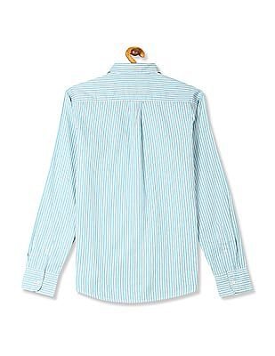 Flying Machine Rounded Cuff Vertical Stripe Shirt