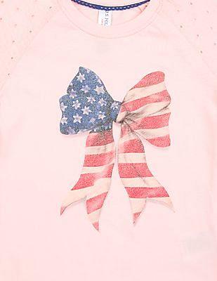 U.S. Polo Assn. Kids Hakoba Sleeve Glitter Print Top