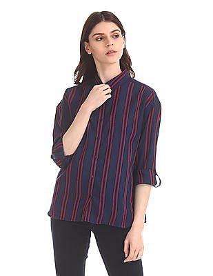 U.S. Polo Assn. Women Vertical Stripe Tencel Shirt