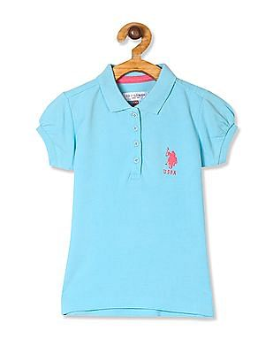 U.S. Polo Assn. Kids Blue Girls Puff Sleeve Pique Polo Shirt