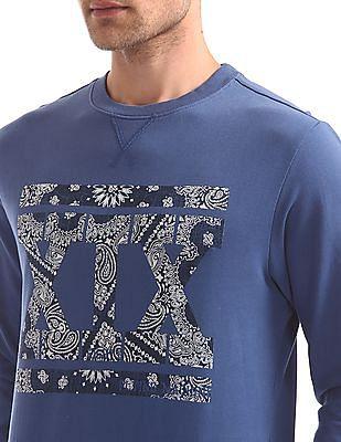 Flying Machine Printed Crew Neck Sweatshirt