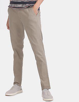 Ruggers Men Brown Elasticized Waist Modern Slim Fit Casual Trousers