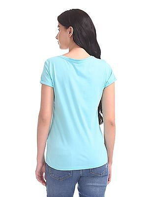 U.S. Polo Assn. Women V-Neck Crossover Strap T-Shirt
