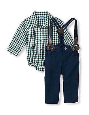 The Children's Place Baby Woven Suspender Set