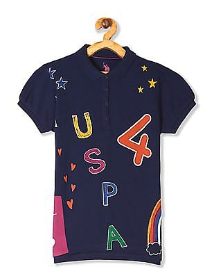 U.S. Polo Assn. Kids Blue Girls Printed Pique Polo Shirt