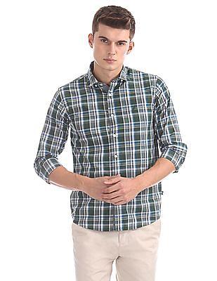 Nautica Long Sleeve Large Plaid Poplin Shirt