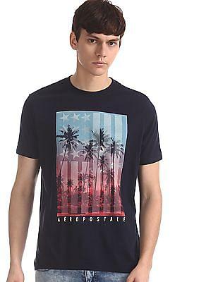 Aeropostale Blue Crew Neck Graphic T-Shirt