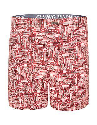 Flying Machine Circuit Print Cotton Boxers