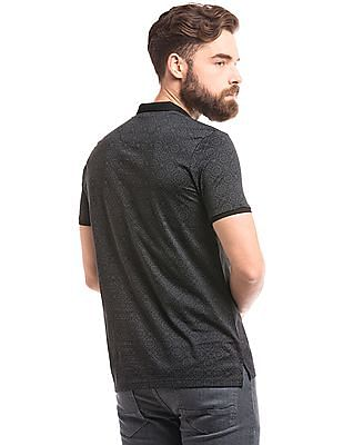 True Blue Jharokha Print Slim Fit Polo Shirt