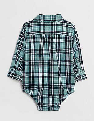 GAP Baby Green Plaid Long Sleeve Bodysuit