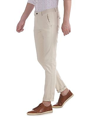 Arrow Sports Beige Slim Fit Autoflex Trousers