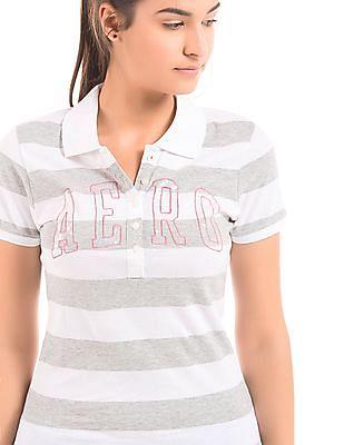Aeropostale Melange Striped Polo Shirt