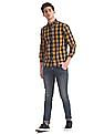 Cherokee Yellow Spread Collar Check Shirt