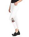 SUGR White Floral Print Mid Waist Jeans