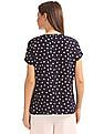 Cherokee Polka Print Notch Neck Top