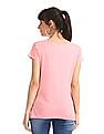 SUGR Pink Solid Cotton Modal T-Shirt