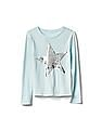 GAP Girls Blue Flippy Sequin Long Sleeve Tee