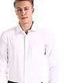 Excalibur White Mitered Cuff French Placket Shirt