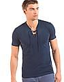 Colt Lace Up Neck Slim Fit T-Shirt