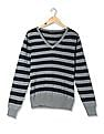 Flying Machine Women V-Neck Striped Sweater